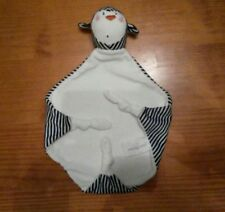 Doudou plat carré blanc Paris pingouin Justin blanc rayé noir 3 nœuds TBE