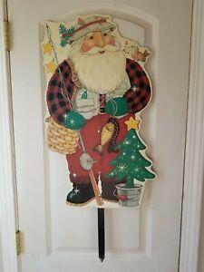 """Christmas Fishing Santa Yard Sign ~ Vintage 2000 ~ 26"""" tall"""