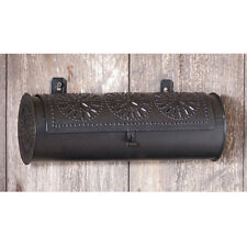 Country new hanging black punched tin candle box /storage tin / nice