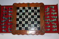 Vintage Chinese decorative tiled chess board game and carved sandstone pieces