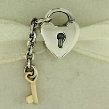Authentic Pandora 790288 Key To My Heart 14K Gold Silver Mother's Day Bead Charm