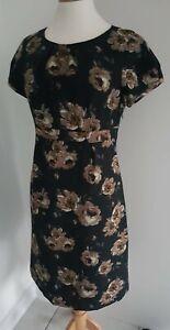 BODEN - BLACK FLORAL SHIFT DRESS - UK12R - EXCELLENT CONDITION