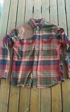 Ralph Lauren Red Plaid Hunting Work Shirt L leather shoulder patch rrl
