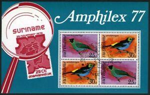 Surinam C60a,CTO in present booklet.Michel Bl.19. AMPHILEX-1977.Birds