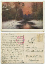 34859 - Waldbach im Winter - Ansichtskarte, gelaufen 9.12.1950 - Zensurstempel