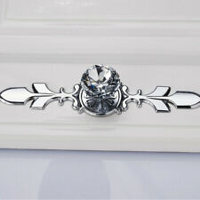 5pcs Crystal Glass Drawer Knob Wardrobe Cupboard Single Hole Pull Handle UK Hot