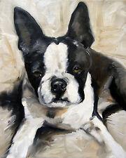 Mary SPARROWBlack and White  Boston Terrier Dog Art Oil Painting PRINT