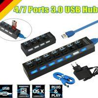 USB 3.0 4/7 Port Hub Aktiv mit Netzteil Verteiler USB für windows PC Laptop NEU