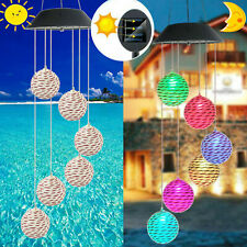 Solar LED Garden Wind Chimes Color Changing Outdoor Xmas Lights Tree Hanging