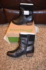 EARTH ORIGINS DOLLY WOMENS 9M BLACK SOFT MACCHIATO SUEDE & LEATHER ANKLE BOOTS