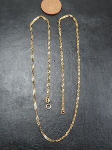 VINTAGE 9ct GOLD TWISTED CURB LINK NECKLACE CHAIN 18 inch C.1990