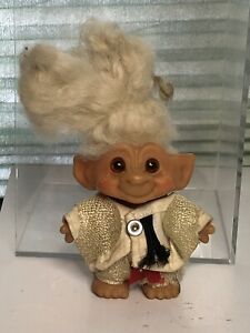"""Vintage Small Troll Doll Unmarked Soft White Hair Glass Eyes 2 3/4"""" 5"""" W/hair"""