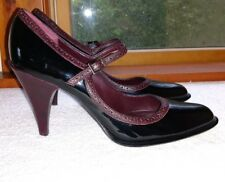 Womens Anne Klein Mary Jane Kitten Heels Made in Italy shoes Sz 8 Brown Burgundy