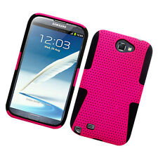 For Samsung Galaxy Note II 2 MESH Hard Hybrid Silicone Rubber Skin Case Pink