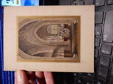 Micro Incisione chrch RIBALDO Pugin esque EXTREME dettagli colorati 75 x 100 montata