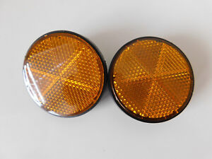 Pair of Round Universal Bolt on Orange / Amber Reflectors for Motorcycle / ATV