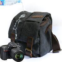 DSLR Canvas Camera Bag Shoulder Messenger Bag Carrying Padded Photo Cases Small