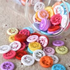 100Pcs Round Multicolor Resin Buttons Assorted 14mm DIY Craft Sewing Scrapbook