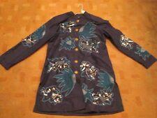 INDIGO MOON Vintage 70s hippy boho style coat embroidered sequins beads 10-12