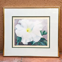 Painting Watercolor White Floral Original Signed H. Rosenfeld Metal Frame Gift
