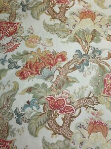 Pottery Barn Fabric Shower Curtain Red Cream Green  Floral Cotton EUC