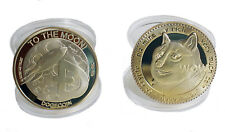 2 PACK Collectibe Physical Dogecoin Doge Coin Souvenir Metal Custom Gold Plated