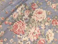RALPH LAUREN SHELTER ISLAND Twin Size Fitted Sheet Blue Pink White Floral
