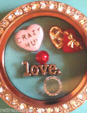 ❤️AUTHENTIC ORIGAMI OWL 3 CHARM SET CRAZY 4U HEART 💘LOVE CHOCOLATES + CRYSTAL❤️