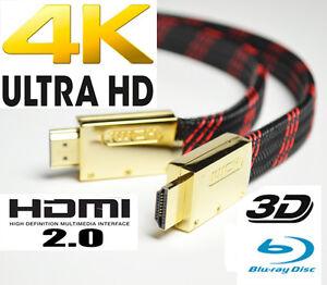 PROFI NYLON HDMI FLACHKABEL VERSION 2.0 UltraHD 4K 3-FACH GESCHIMT LÄNGENAUSWAHL