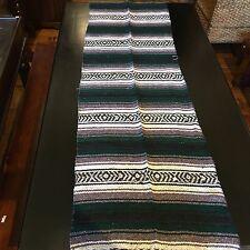 """Small Mexican Falsa Blanket Light Weight 1.3 lbs Dark Green Stripe 24"""" x 72""""L"""