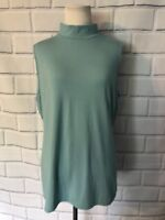 NWT Charter Club Sleeveless Turtleneck Top Sz L Aqua Blue Blouse Career New $34