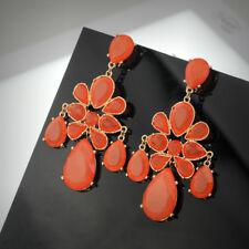 Boucles d'Oreilles CLIP ON NON PERCE Enorme Chandelier Orange Goutte Facetté QD2