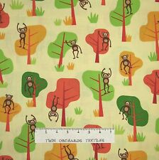 Jungle Party Fabric - Safari Monkeys Trees Green Yellow - Robert Kaufman 30""