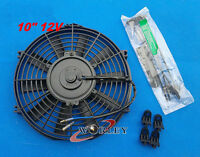 10 inch 12V PULL/PUSH SLIM RADIATOR ELECTRIC THERMO FAN+MOUNTING KITS