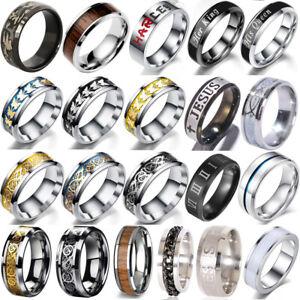 Men Silver Celtic Dragon Ring 8mm Titanium Stainless Steel Wedding Band Ring Lot