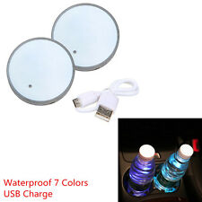 1 Pair 7 Colors LED Light USB Charger Car Cup Holder Bottom Pad Cover Universal