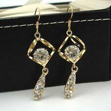 18k Yellow Gold Filled Earrings Women Dangle Long Shiny CZ Zircon GF Jewelry New