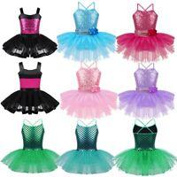 Girls Kids Flower Ballet Dance Dress Sequined Tutu Leotard Dance Wear Costume