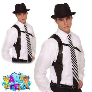 Adult Gun Holder Holster 1920s Gangster Mens Fancy Dress Costume Accessory