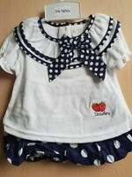 Beautiful Baby Girl Navy and White Polka Dot Shorts and Top Set / Outfit.