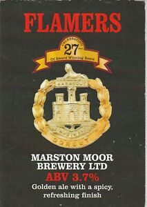 MARSTON MOOR BREWERY - FLAMERS GOLDEN ALE - PUMP CLIP FRONT