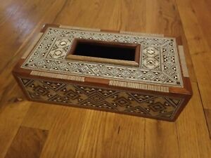 Mother of Pearl Inlay Rectangular wooden Tissue Box Cover Napkin Case Holder