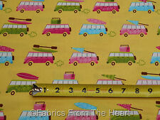Beachy Keen VW Vans Surf Boards on Yellow BY YARDS Robert Kaufman Cotton Fabric