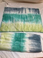 EUC Pottery Barn Pillow Sham Pair Cover Blue Green Tie Dye
