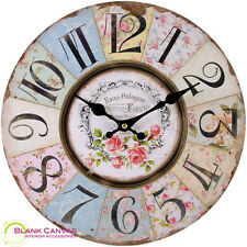 Vintage French Style Shabby Chic Pastel Floral Wall Clock - NEW
