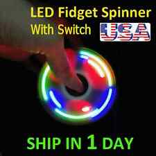 UPGRADE VERSION SWITCH CONTROL 3 MODE LED HAND SPINNER EDC TOY FIDGET LIGHT BLUE
