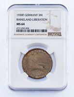 1930-F Germany 3 Mark Rhineland Liberation Graded by NGC as MS-64 KM #70