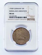 1930-F Germany 3 Mark Rhineland Liberation Graded by NGC as MS-64 KM #70