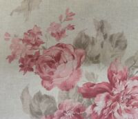 """Vintage Linen Faded Rose Party  Pink/Red 140cm/54"""" Curtain/Craft Fabric"""
