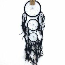 NEW LARGE BLACK FEATHER DREAM CATCHER NATIVE AMERICAN WALL HANGING MOBILE